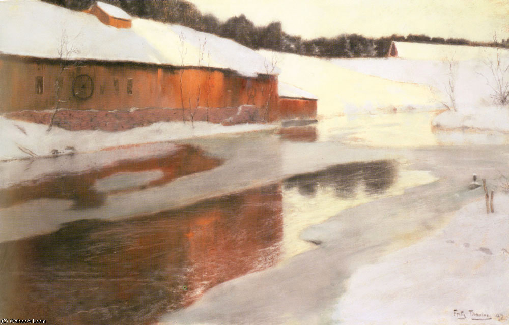 A factory Building Near An Icy River In Winter by Frits Thaulow (1847-1906, Norway)