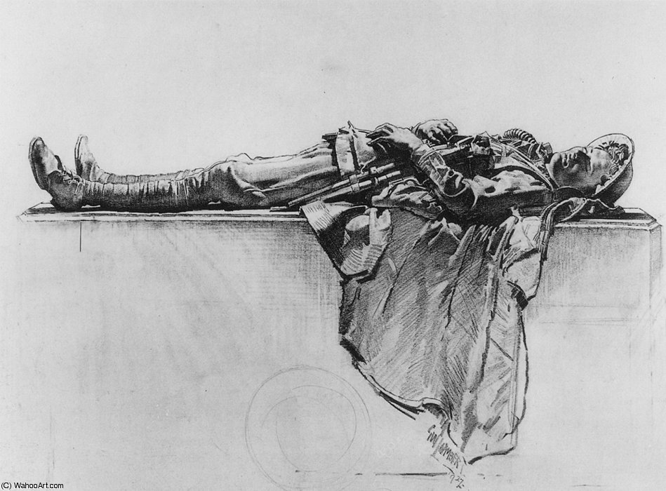 Recumbent Figure of a Soldier by George Lambert (1873-1930, Russia)