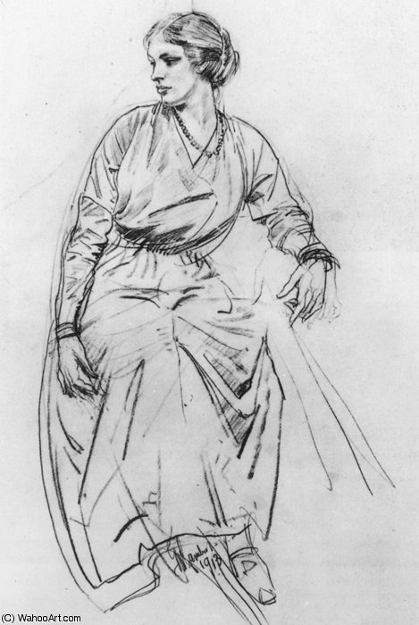 Seated Woman drawing by George Lambert (1873-1930, Russia) | Painting Copy | ArtsDot.com