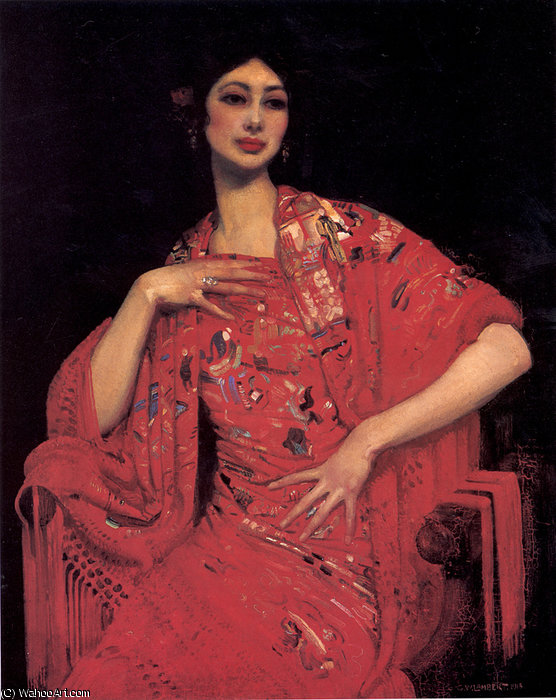 The red shawl by George Lambert (1873-1930, Russia)