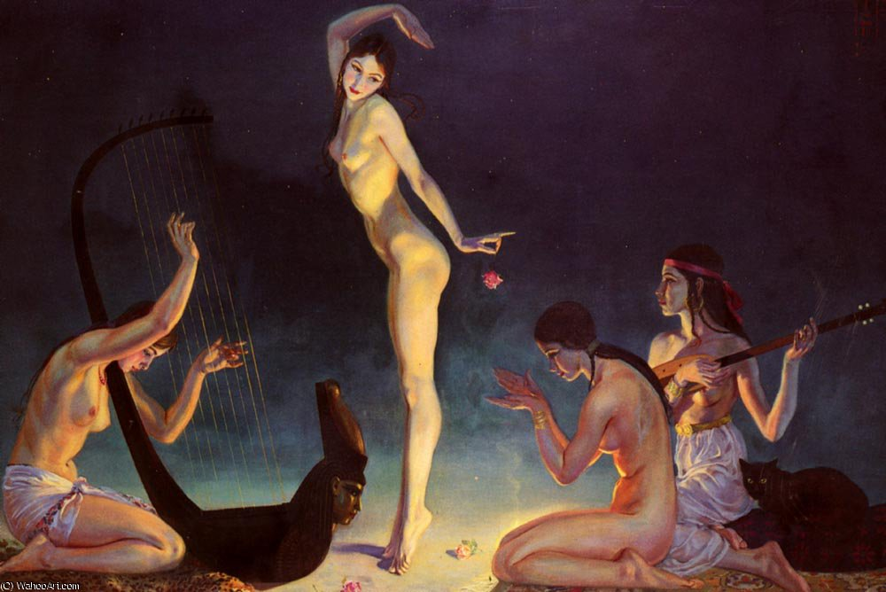 A dancer of ancient egypt by Jorge Apperley (George Owen Wynne Apperley) (1884-1960, United Kingdom) | Museum Quality Reproductions | ArtsDot.com