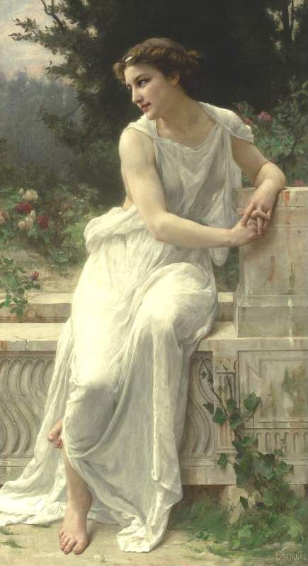 Young woman of pompeii on a terrace by Guillaume Seignac (1870-1924, France) | Museum Quality Reproductions | ArtsDot.com