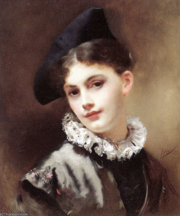 A coquettish smile by Gustave Jean Jacquet (1846-1909, France)