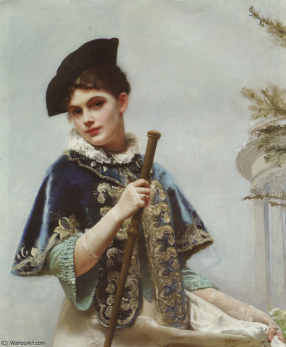 A Portrait of a Noble Lady by Gustave Jean Jacquet (1846-1909, France) | ArtsDot.com