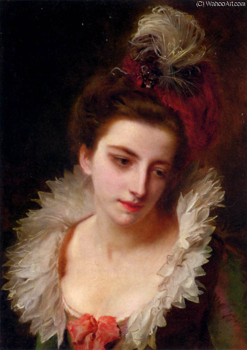 Portrait of a lady with a feathered hat by Gustave Jean Jacquet (1846-1909, France)