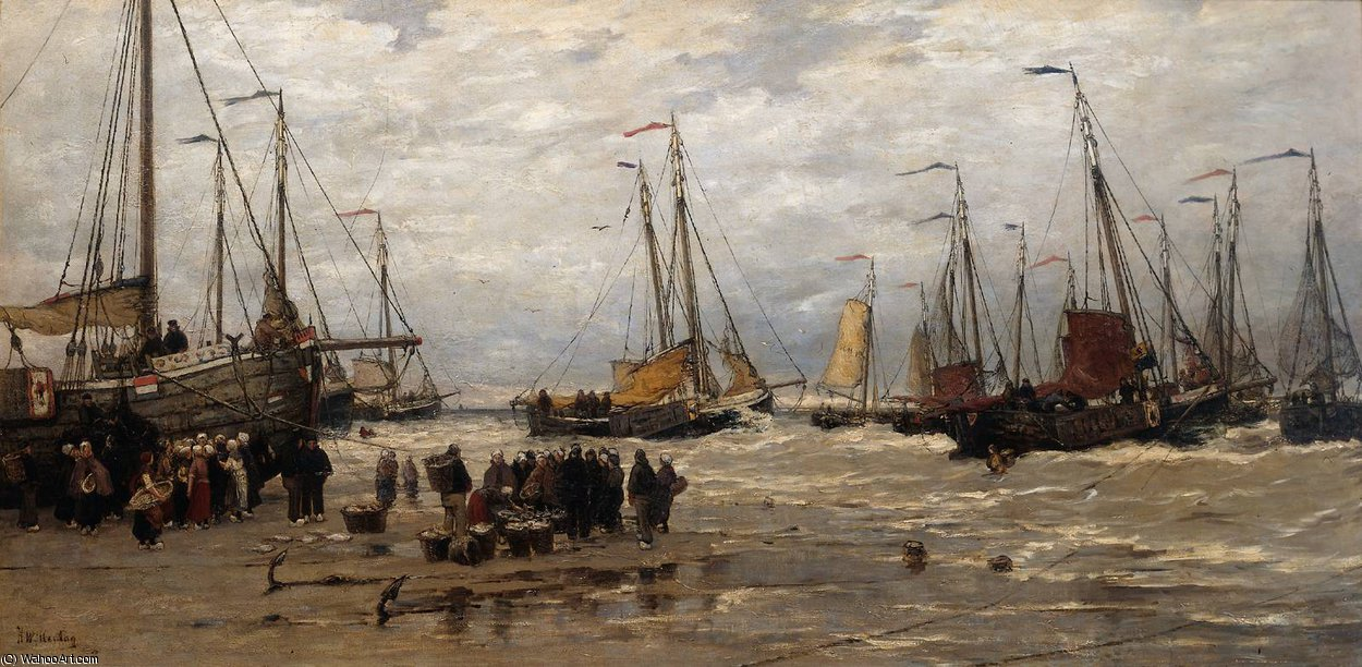 Pinks in the Breakers by Hendrik Willem Mesdag (1831-1915, Netherlands)