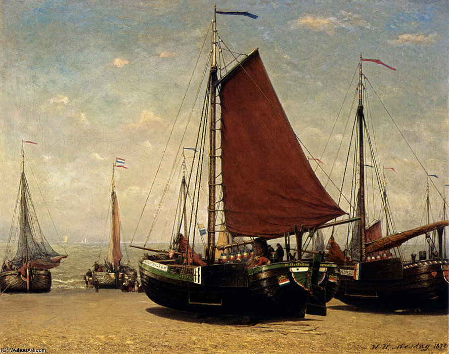 The bomschuit prinses sophie on the beach scheveningen by Hendrik Willem Mesdag (1831-1915, Netherlands)
