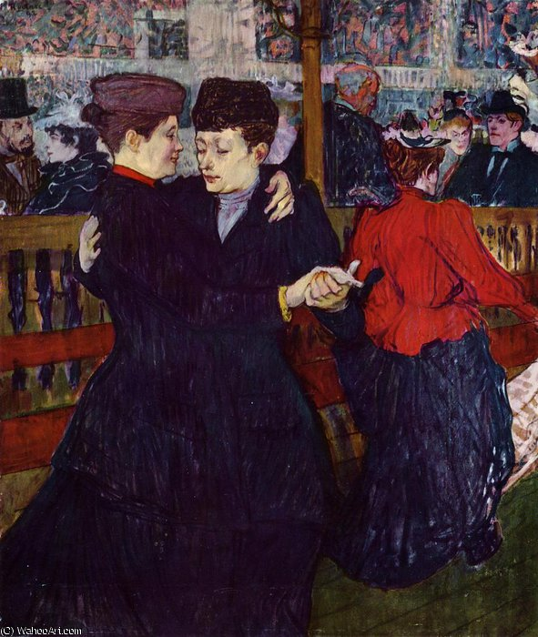 At the Moulin Rouge the Two Waltzers by Henri De Toulouse Lautrec (1864-1901, France) | Museum Quality Reproductions | ArtsDot.com