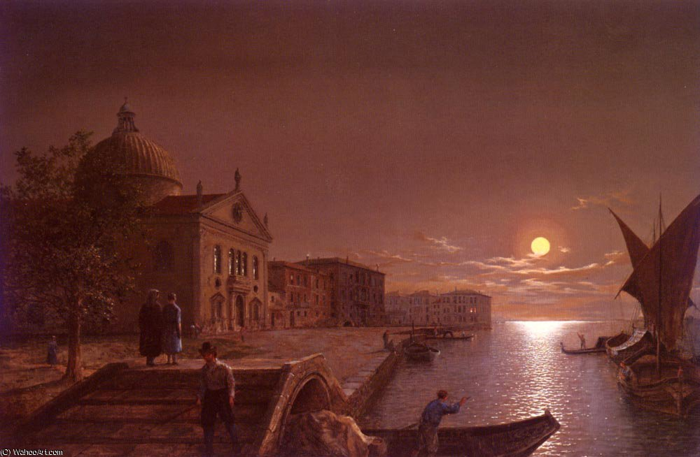 Moonlight in venice by Henry Pether (1828-1865, United Kingdom)