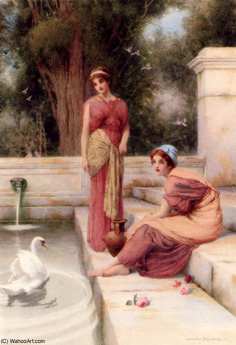 Two classical maidens and a swan by Henry Ryland (1856-1924, United Kingdom)
