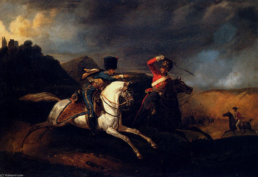 Two soldiers on horseback by Emile Jean Horace Vernet (1789-1863)