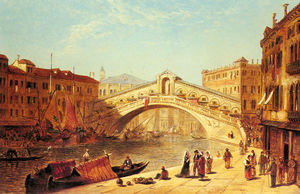 James Holland - A view of the rialto brid..