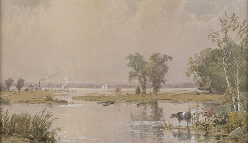 hackensack meadows by Jasper Francis Cropsey (1823-1900, United States)