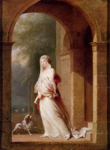Jean Baptiste Mallet - A young woman standing in an archway