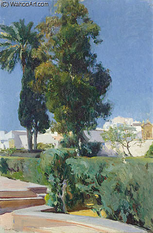 Corner of the Garden Alcazar Sevilla GTY by Joaquin Sorolla Y Bastida (1863-1923, Spain)