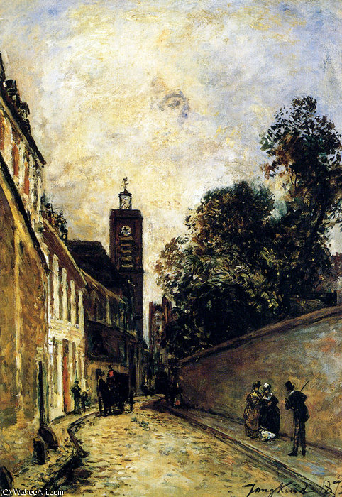 rue de l abbe de l epee and the church of saint james by Johan Barthold Jongkind (1819-1891, Netherlands)