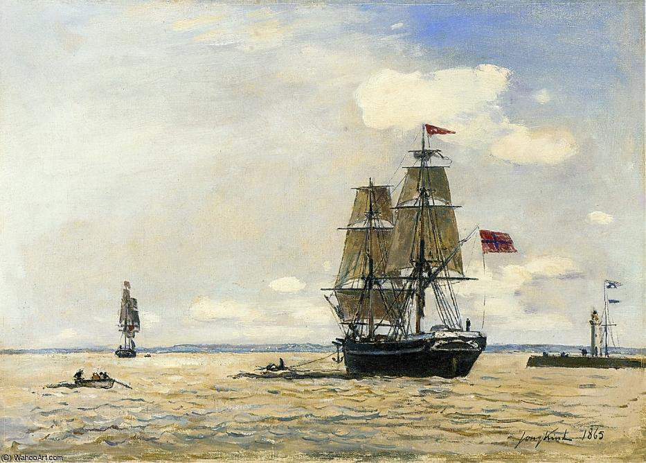 Norwegian Naval Ship Leaving the Port of Honfleur by Johan Barthold Jongkind (1819-1891, Netherlands)
