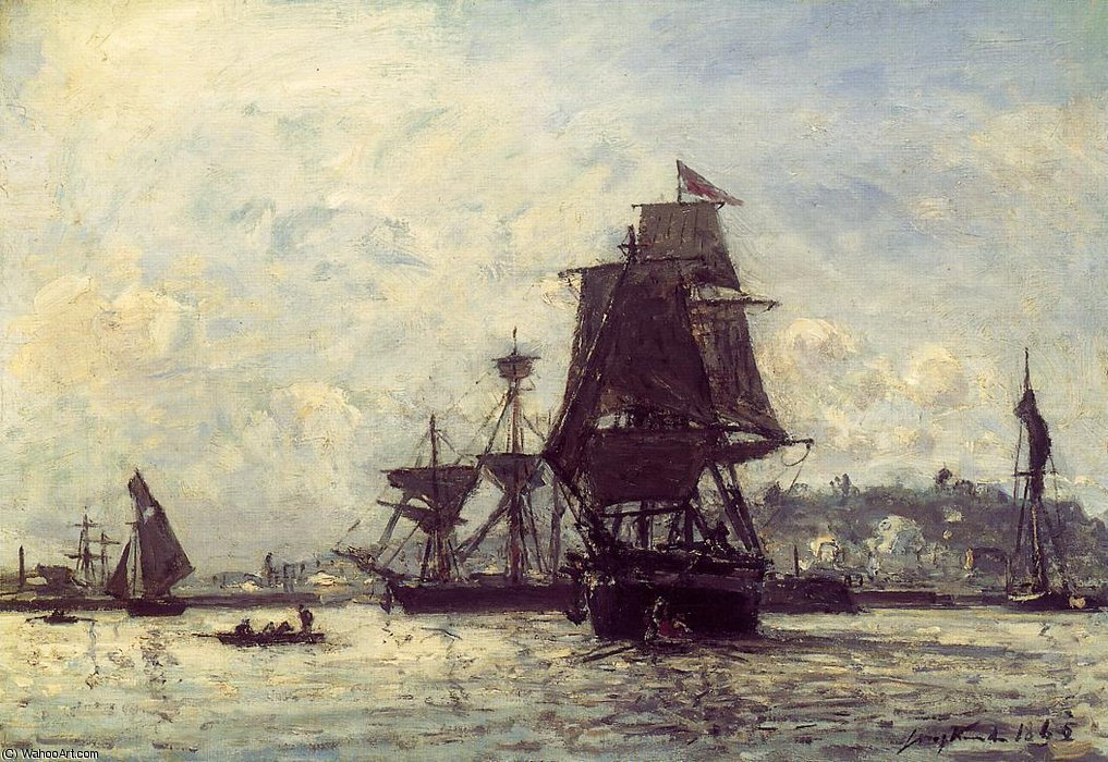 Sailing Ships at Honfleur by Johan Barthold Jongkind (1819-1891, Netherlands)
