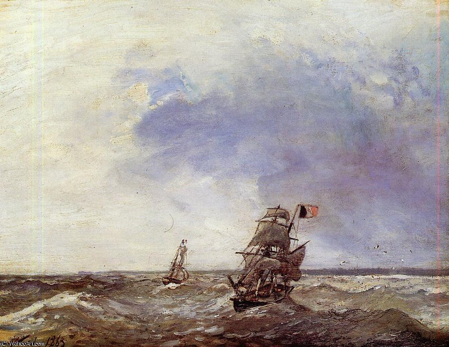 Ships at Sea by Johan Barthold Jongkind (1819-1891, Netherlands)