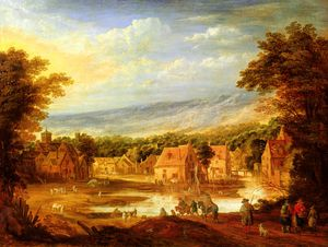 Joos De Momper The Younger - An extensive river landscape with travellers approaching a village