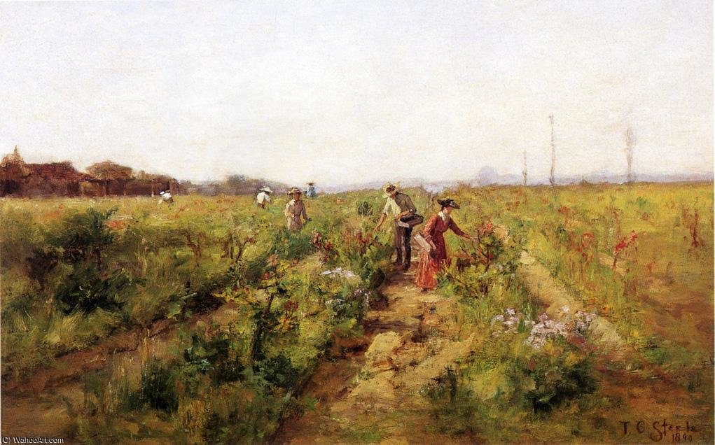 In the Berry Field ), 1890 by Theodore Clement Steele (1847-1926, United States)