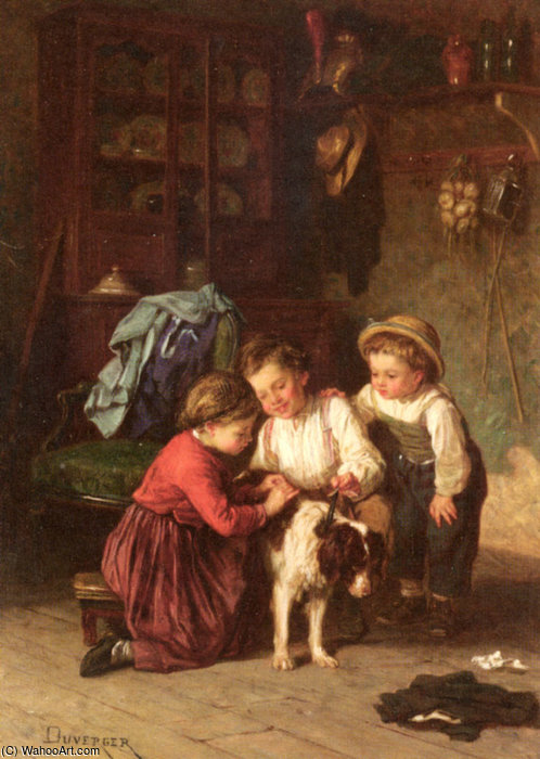 The patient pet by Theophile Emmanuel Duverger (1821-1898, France)