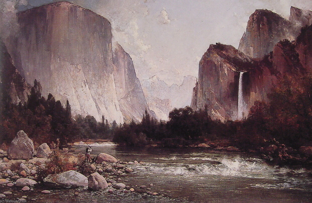 Fishing on the Merced River by Thomas Hill (1829-1908, United Kingdom)