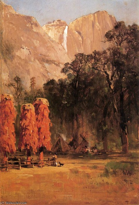Indian camp yosemite by Thomas Hill (1829-1908, United Kingdom)