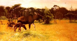 Friedrich Wilhelm Kuhnert - Moose with her calf in a lands..