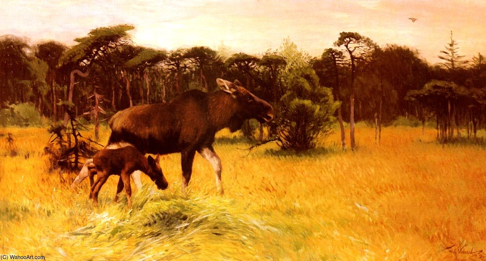 Moose with her calf in a landscape by Friedrich Wilhelm Kuhnert (1865-1926, Poland) | ArtsDot.com
