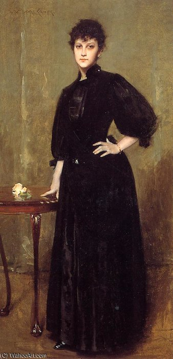 Lady in Black aka Mrs. Leslie Cotton by William Merritt Chase (1849-1916, United States)
