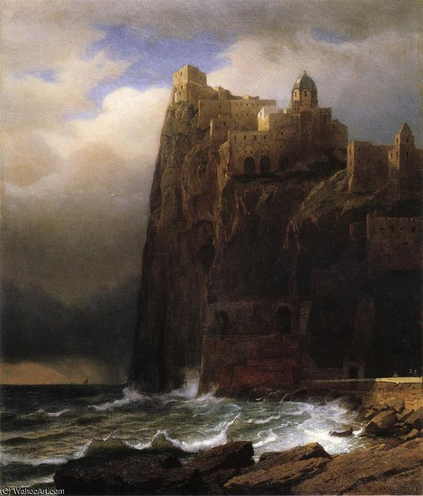 Order Paintings Reproductions | Coastal Cliffs aka Ischia by William Stanley Haseltine (1835-1900, United States) | ArtsDot.com