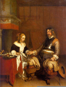 Gerard Ter Borch The Younger - Soldier offering a young woman coins, louvre