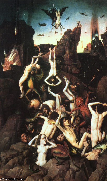 The Fall of the Damned, oil on wood, Musée de, 1450 by Dieric Bouts (1415-1475)