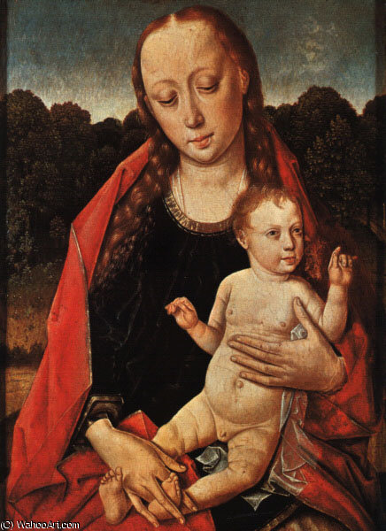 The Virgin and Child, panel painting, Musée Royal d by Dieric Bouts (1415-1475, Netherlands)