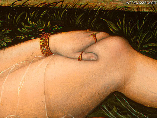 The Nymph of the Spring, after Detalj - (4,), 1537 by Lucas Cranach The Elder (1472-1553, Germany)