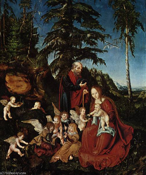 The rest on the flight to Egypt, Staatlic, 1504 by Lucas Cranach The Elder (1472-1553, Germany)