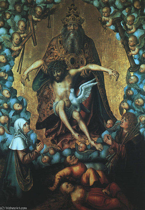 The Trinity, undated, oil on wood, Museum der B by Lucas Cranach The Elder (1472-1553, Germany)