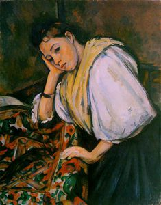 Paul Cezanne - Young italian girl resting on her elbow,c.1900, coll