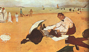 Edgar Degas - At the Beach, oil on paper, National Gallery at
