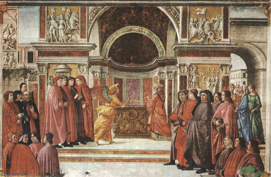 Apparition of the angel to zacharias, cappella t by Domenico Ghirlandaio (1449-1494, Italy)