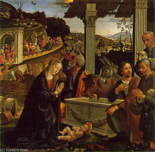 Adoration of the shepherds, Sa, 1485 by Domenico Ghirlandaio (1449-1494, Italy)