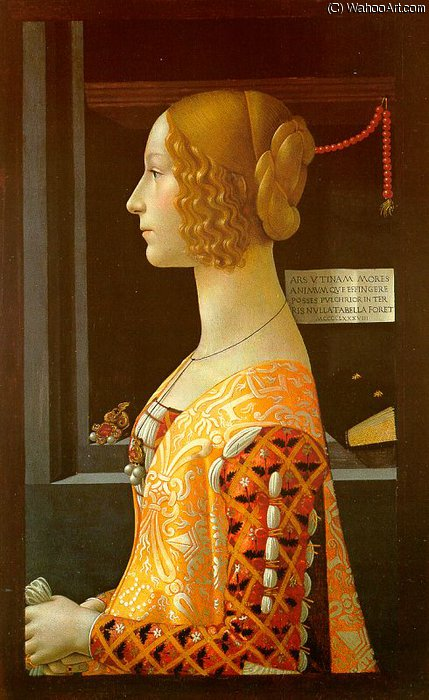 Portrait of giovanna tornabuoni, thyssen-bornemi by Domenico Ghirlandaio (1449-1494, Italy) | Art Reproduction | ArtsDot.com