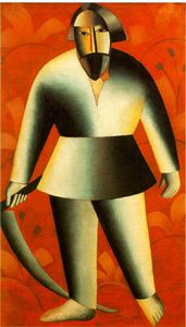 Kazimir Severinovich Malevich - Reaper on red background Fine Arts Museum,