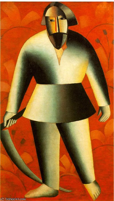 Reaper on red background Fine Arts Museum,, 1913 by Kazimir Severinovich Malevich (1879-1935, Ukraine) | Art Reproduction | ArtsDot.com