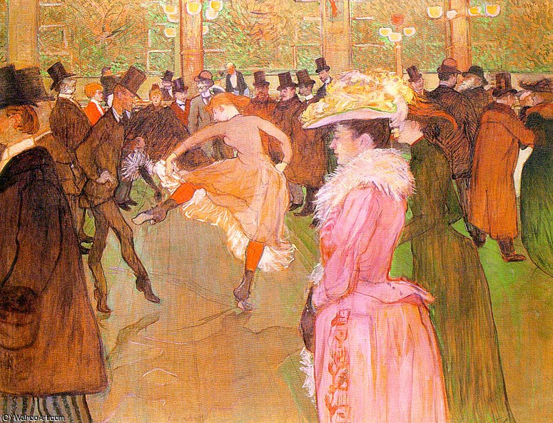 Training of the New Girls by Valentin at the Moulin Rouge by Henri De Toulouse Lautrec (1864-1901, France)