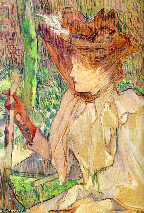 Portrait of Honorine Platzer (Woman with Gl by Henri De Toulouse Lautrec (1864-1901, France)