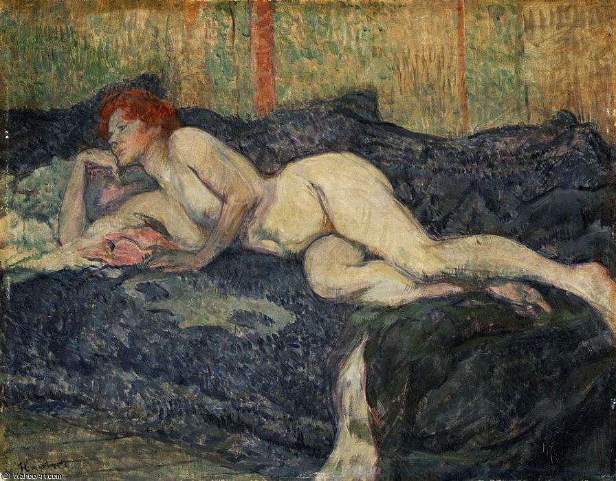 Reclining nude, Barnes foundation, 1897 by Henri De Toulouse Lautrec (1864-1901, France)
