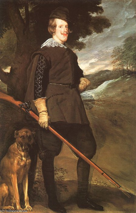 Philip IV as a Hunter, oil on canvas, Mus, 1636 by Diego Velazquez (1599-1660, Spain)