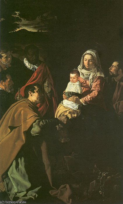 The Adoration of the Magi, oil on canvas, Mu, 1619 by Diego Velazquez (1599-1660, Spain)